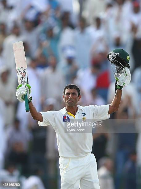 Younis Khan of Pakistan celebrates after reaching his double centrury runs during Day Two of the Second Test between Pakistan and Australia at Sheikh...