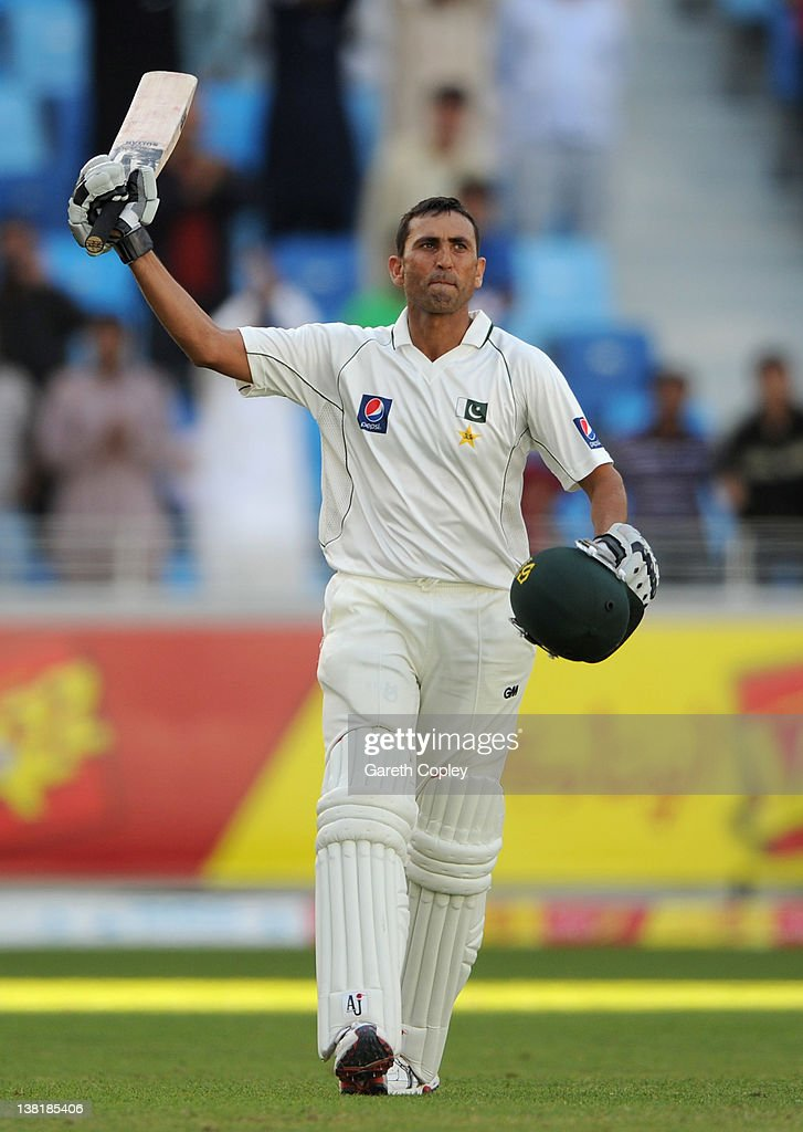 <a gi-track='captionPersonalityLinkClicked' href=/galleries/search?phrase=Younis+Khan&family=editorial&specificpeople=585162 ng-click='$event.stopPropagation()'>Younis Khan</a> of Pakistan celebrates reaching his century during the 3rd Test match between Pakistan and England at The Dubai International Stadium on February 4, 2012 in Dubai, United Arab Emirates.