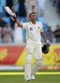 Younis Khan of Pakistan celebrates reaching his century during the 3rd Test match between Pakistan and England at The Dubai International Stadium on...