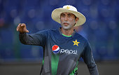 Younis Khan of Pakistan during a nets session at Zayed Cricket Stadium on October 12 2015 in Abu Dhabi United Arab Emirates
