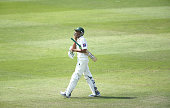 Younis Khan of Pakistan leave the wicket after being bowled lbw by Steven Smith of Australia during Day Four of the Second Test between Pakistan and...