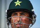 Younis Khan of Pakistan looks on during Day Three of the First Test between Pakistan and Australia at Dubai International Stadium on October 24 2014...