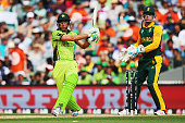 Younis Khan of Pakistan pulls the ball away for four runs during the 2015 ICC Cricket World Cup match between South Africa and Pakistan at Eden Park...