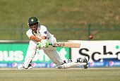 Younis Khan of Pakstan bats during Day Four of the Second Test between Pakistan and Australia at Sheikh Zayed Stadium on November 2 2014 in Abu Dhabi...