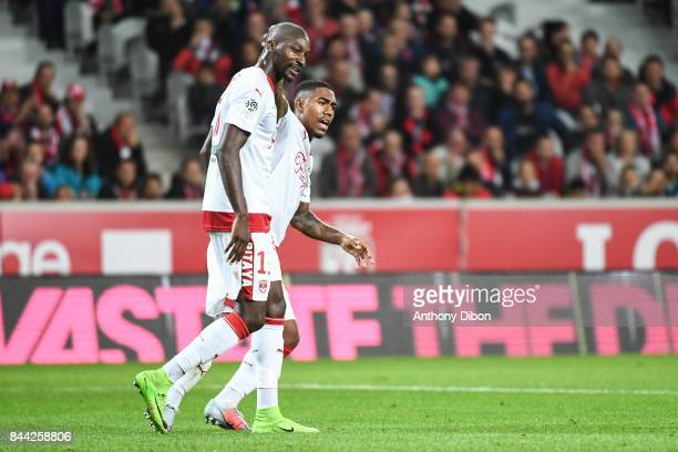 Younousse SANKHARE and Malcom of Bordeaux looks dejected during the Ligue 1 match between Lille OSC and FC Girondins de Bordeaux at Stade Pierre...