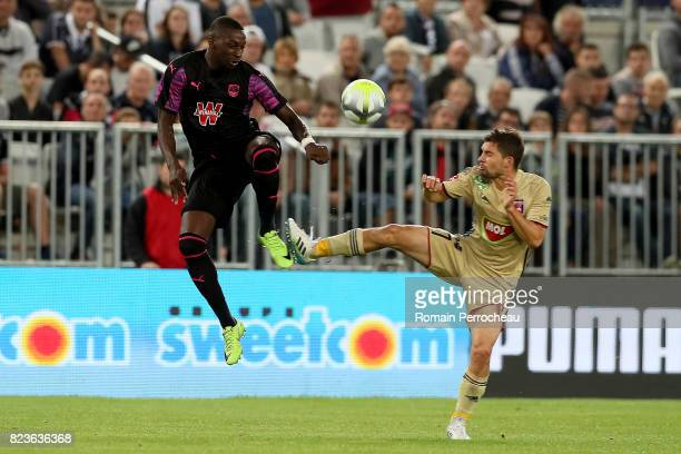 Younousse Sankhare of Bordeaux and Mate Patkai of Videoton in action during the UEFA Europa League qualifying match between Bordeaux and Videoton at...