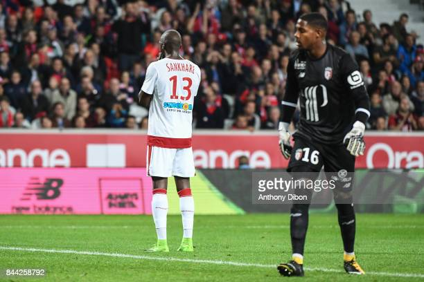 Younousse SANKHARE of Bordeaux looks dejected during the Ligue 1 match between Lille OSC and FC Girondins de Bordeaux at Stade Pierre Mauroy on...