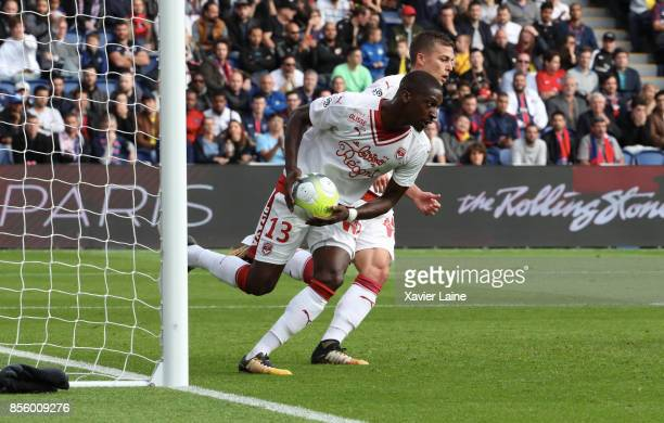 Younousse Sankhare of FC Girondins de Bordeaux celebrate his goal during the Ligue 1 match between Paris SaintGermain and FC Girondins de Bordeaux at...