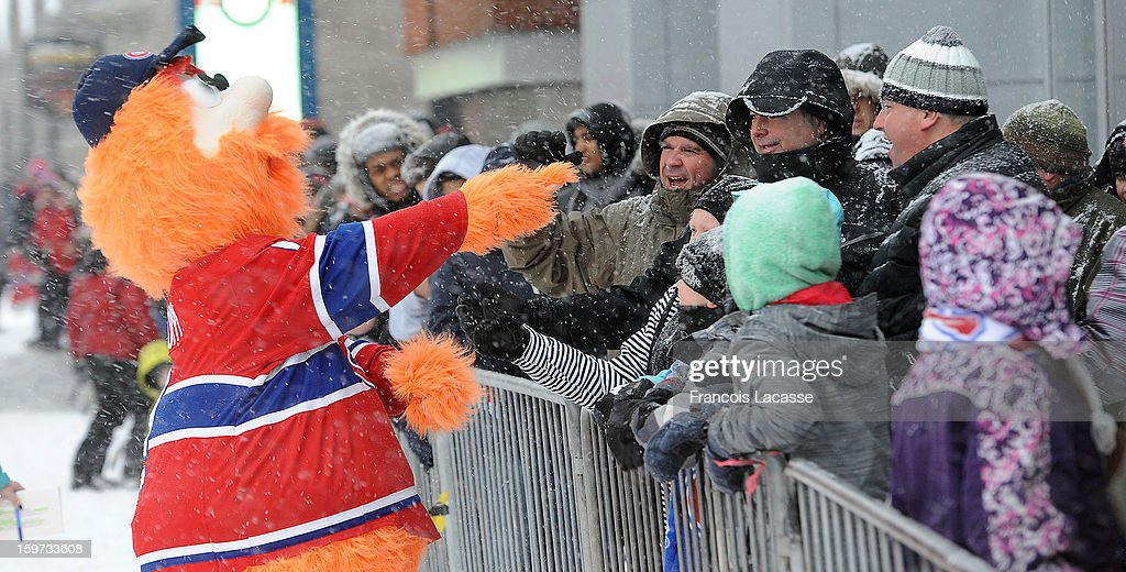 Youppi cheered the Fans of the Montreal Canadiens that came early to the Bell Centre despite the snow and the cold weather before the season's opening NHL game against the Toronto Maple Leafs on January 19, 2013 at the Bell Centre in Montreal, Quebec, Canada.