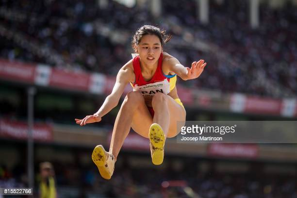 Youqi Pan of China competes in the girls long jump during day 5 of the IAAF U18 World Championships at Moi International Sports Centre Kasarani Arena...