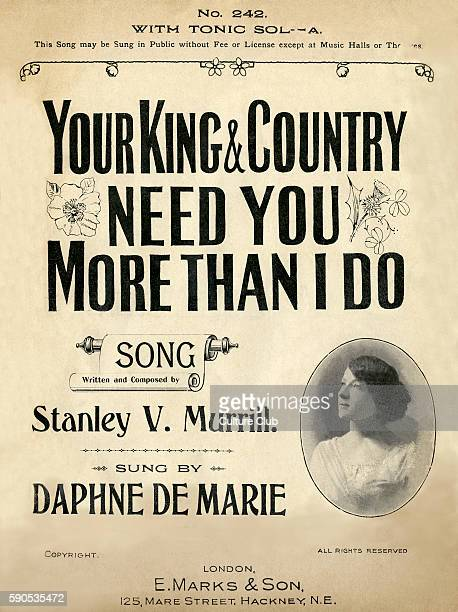 Your King And Country Need You More Than I Do song written and composed by Stanley V Murrill sung by Daphne De Marie Score Cover Published by EMarks...