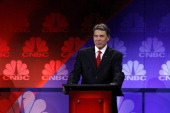 The Republican Presidential Debate Pictured Rick Perry at CNBC's 'Your Money Your Vote The Republican Presidential Debate' live from Oakland...
