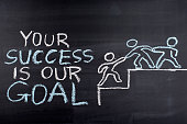 Your success is our goal hand drawing on blackboard,business concept