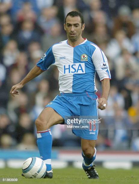 Youri Djorkaeff of Blackburn in action during the Barclays Premiership match between Blackburn Rovers and Aston Villa at Ewood Park on October 2 2004...