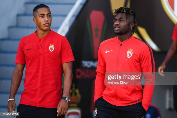 Youri Tielemans and Allan Saint Maximin of Monaco during the Champions Trophy match between Monaco and Paris Saint Germain at Stade IbnBatouta on...