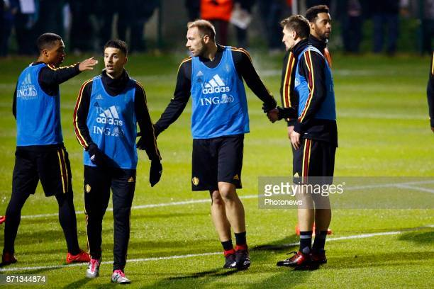 Youri Tielemans midfielder of Belgium and Laurent Depoitre forward of Belgium and Thomas Meunier defender of Belgium picture during the training...