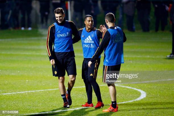 Youri Tielemans midfielder of Belgium and Thomas Meunier defender of Belgium picture during the training session of the Red Devils at the national...