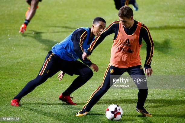 Youri Tielemans midfielder of Belgium and Thorgan Hazard midfielder of Belgium picture during the training session of the Red Devils at the national...