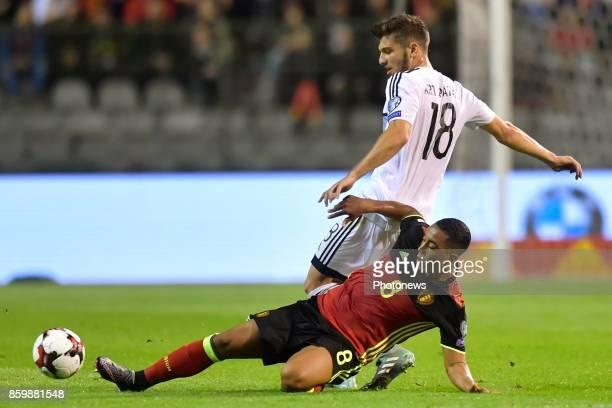 Youri Tielemans midfielder of Belgium battles for the ball with Kostakis Artymatas midfielder of Cyprus during the World Cup Qualifier Group H match...