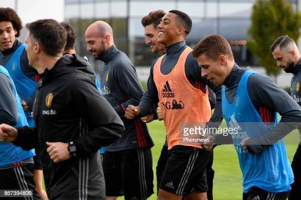 Youri Tielemans midfielder of Belgium during a training session of the National Soccer Team of Belgium prior to the World Cup 2018 qualification...