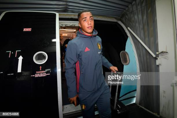 Youri Tielemans midfielder of Belgium pictured during the arrival of the National Soccer Team of Belgium prior to the 2018 World Cup qualifier...