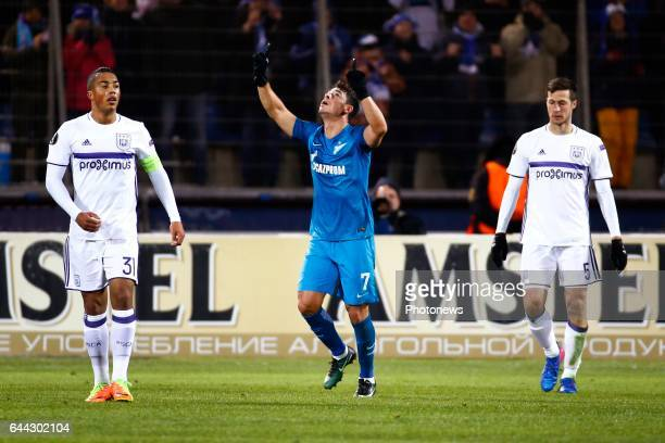 Youri Tielemans midfielder of RSC Anderlecht and Giuliano forward of FC Zenit and Leander Dendoncker midfielder of RSC Anderlecht during the match...