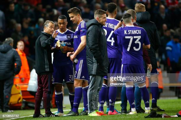 Youri Tielemans midfielder of RSC Anderlecht and Leander Dendoncker midfielder of RSC Anderlecht during the match between Manchester United and Rsc...