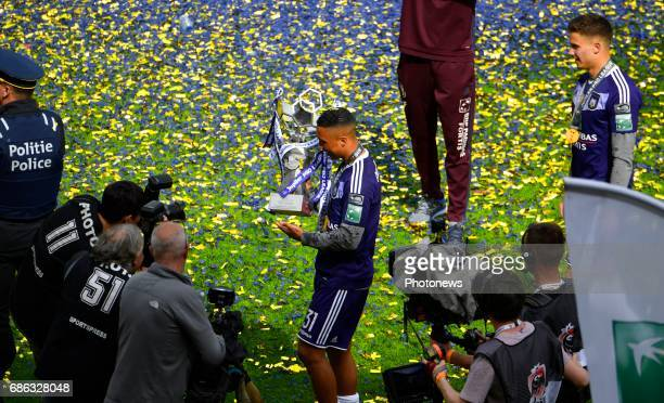 Youri Tielemans midfielder of RSC Anderlecht and Leander Dendoncker midfielder of RSC Anderlecht celebrates winning the Championship after the...