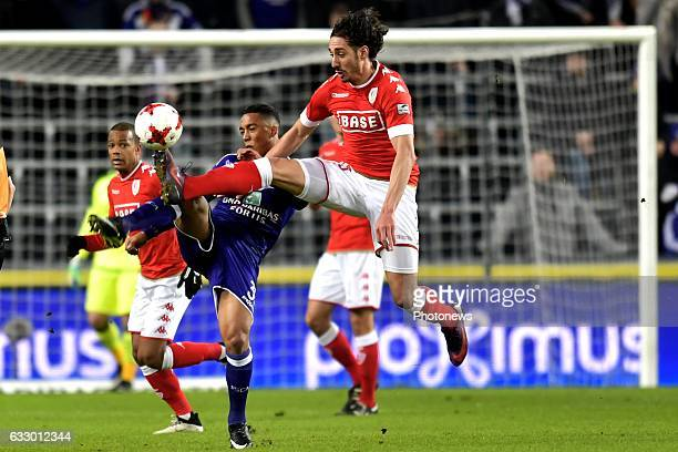 Youri Tielemans midfielder of RSC Anderlecht battles for the ball with Ishak Belfodil forward of Standard Liege during the Jupiler Pro League match...