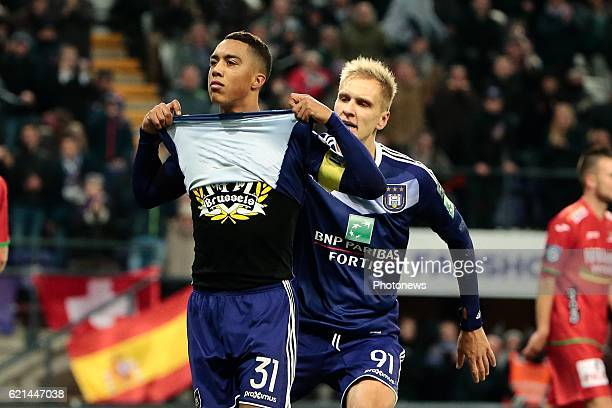 Youri Tielemans midfielder of RSC Anderlecht celebrates scoring the equalising goal pictured during the Jupiler Pro League match between RSC...
