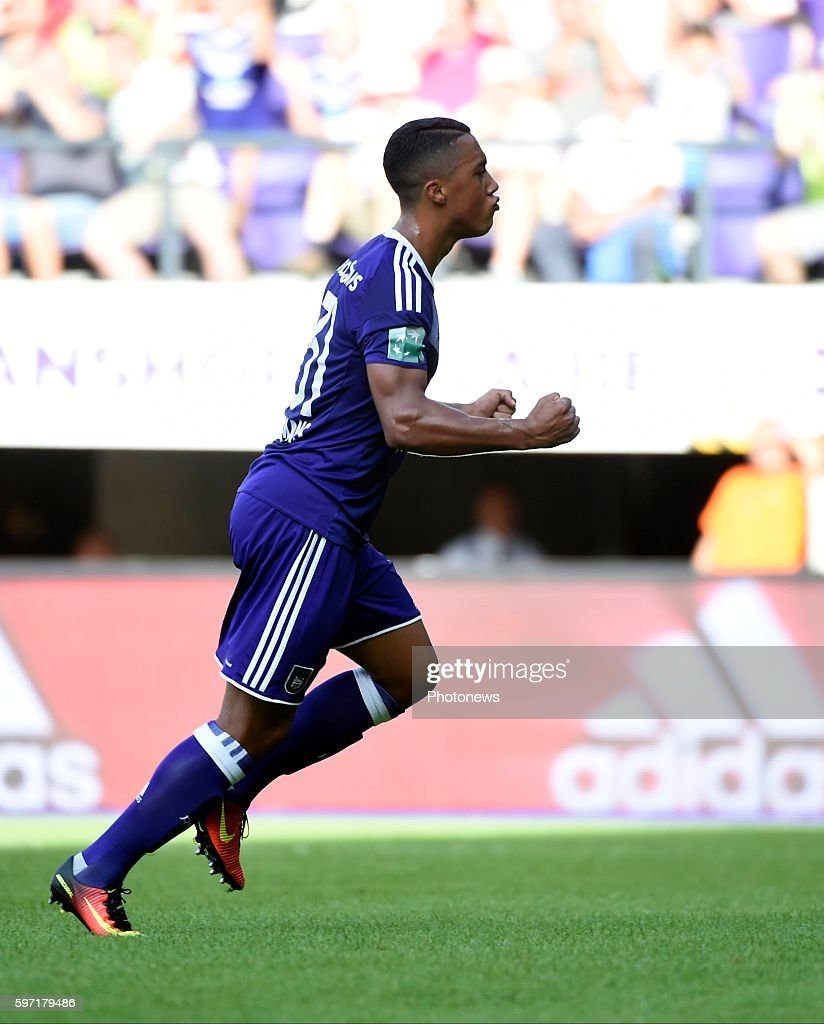 Youri Tielemans midfielder of RSC Anderlecht celebrates with teammates after scoring pictured during Jupiler Pro League match between RSC Anderlecht...