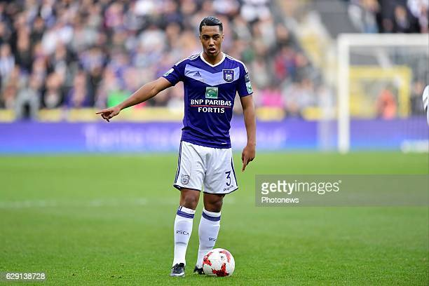 Youri Tielemans midfielder of RSC Anderlecht issues instructions during the Jupiler Pro League match between RSC Anderlecht and Club Brugge in the...