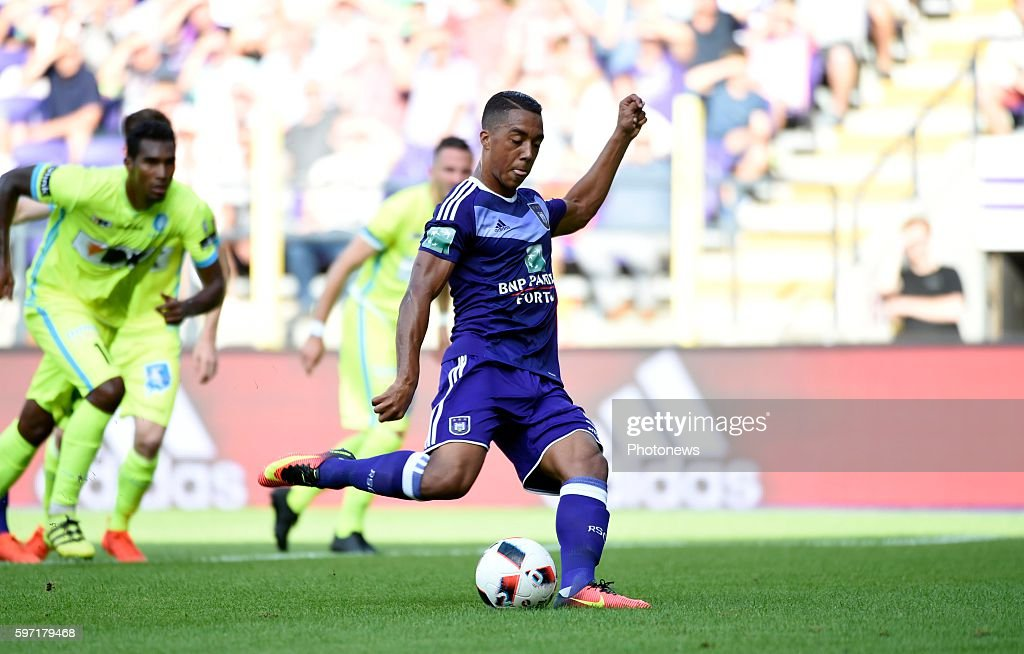 Youri Tielemans midfielder of RSC Anderlecht scoring pictured during Jupiler Pro League match between RSC Anderlecht and KAA Gent on August 28 2016...