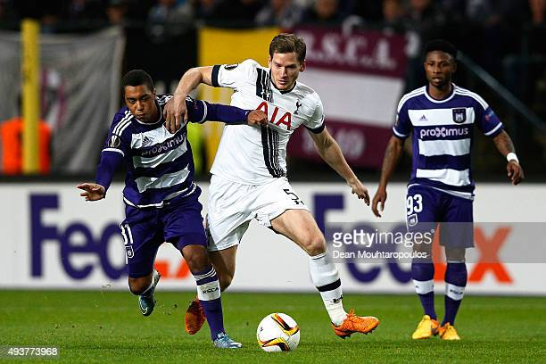 Youri Tielemans of Anderlecht and Jan Vertonghen of Spurs compete for the ball during the UEFA Europa League Group J match between RSC Anderlecht and...