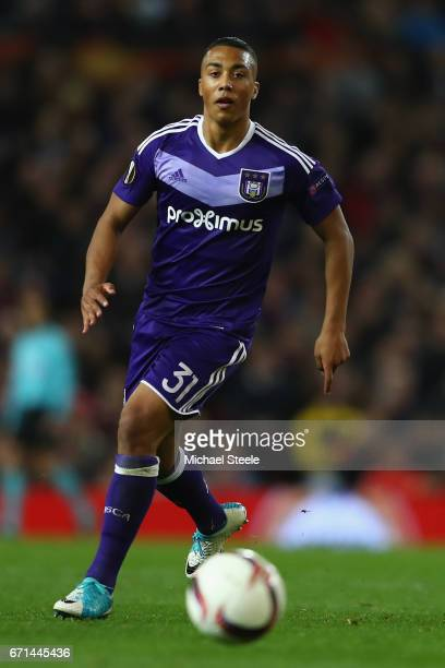 Youri Tielemans of Anderlecht during the UEFA Europa League quarter final second leg match between Manchester United and RSC Anderlecht at Old...