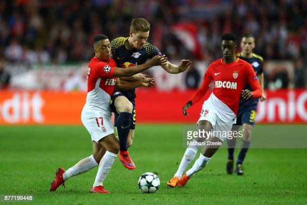 Youri Tielemans of AS Monaco FC and Marcel Halstenberg of RB Leipzig during the UEFA Champions League group G match between AS Monaco and RB Leipzig...