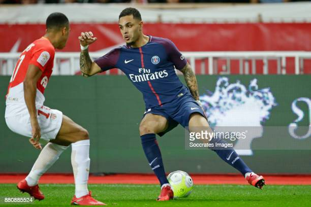 Youri Tielemans of AS Monaco Layvin Kurzawa of Paris Saint Germain during the French League 1 match between AS Monaco v Paris Saint Germain at the...