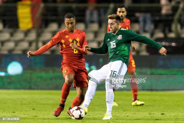Youri Tielemans of Belgium Hector Herrera of Mexico during the friendly match between Belgium and Mexico on November 10 2017 at the Koning Boudewijn...