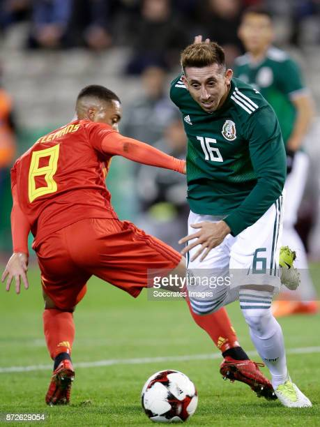 Youri Tielemans of Belgium Hector Herrera of Mexico during the International Friendly match between Belgium v Mexico at the Koning Boudewijnstadion...