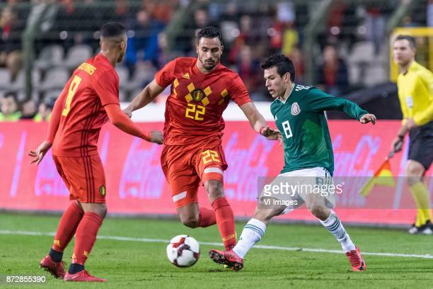 Youri Tielemans of Belgium Nacer Chadli of Belgium Hirving Lozano of Mexico during the friendly match between Belgium and Mexico on November 10 2017...