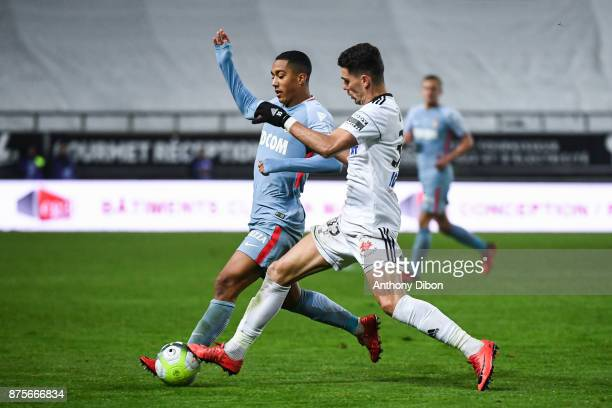 Youri Tielemans of Monaco and danilo Avelar of Amiens during the Ligue 1 match between Amiens SC and AS Monaco at Stade de la Licorne on November 17...