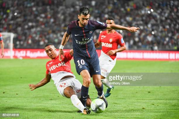 Youri Tielemans of Monaco and Javier Pastore of PSG during the Champions Trophy match between Monaco and Paris Saint Germain at Stade IbnBatouta on...