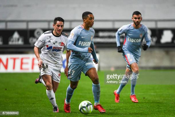 Youri Tielemans of Monaco and Quentin Cornette of Amiens during the Ligue 1 match between Amiens SC and AS Monaco at Stade de la Licorne on November...