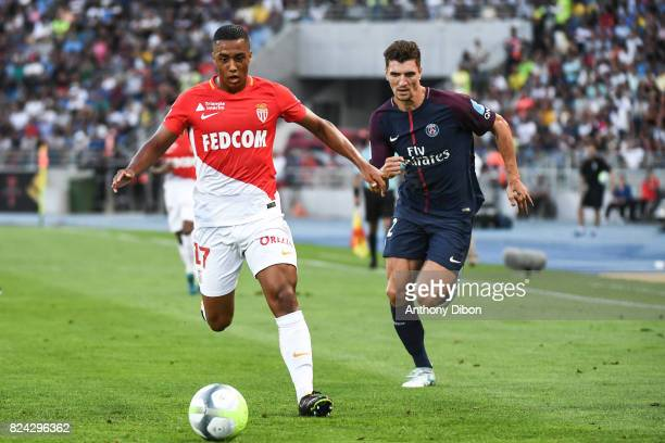 Youri Tielemans of Monaco and Thomas Meunier of PSG during the Champions Trophy match between Monaco and Paris Saint Germain at Stade IbnBatouta on...