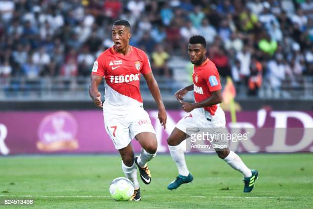 Youri Tielemans of Monaco during the Champions Trophy match between Monaco and Paris Saint Germain at Stade IbnBatouta on July 29 2017 in Tanger...