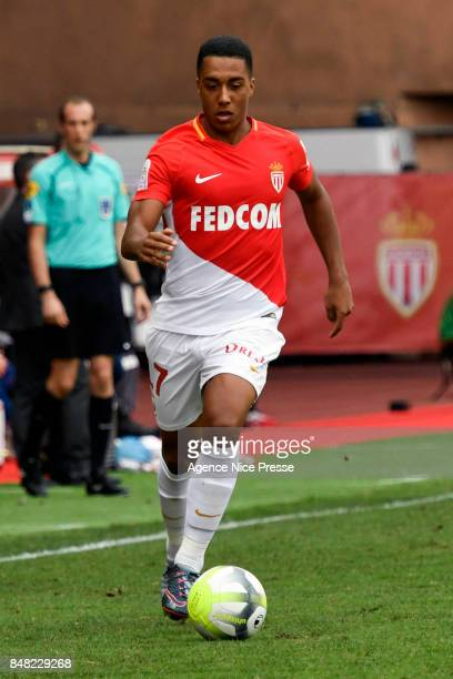 Youri Tielemans of Monaco during the Ligue 1 match between AS Monaco and Strasbourg at Stade Louis II on September 16 2017 in Monaco