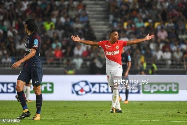 Youri Tielemans of Monaco looks dejected during the Champions Trophy match between Monaco and Paris Saint Germain at Stade IbnBatouta on July 29 2017...