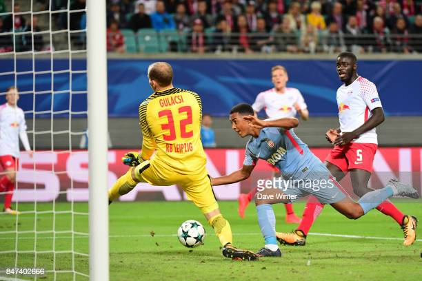 Youri Tielemans of Monaco sees his header saved by goalkeeper Peter Gulasci but he scores the rebound during the Uefa Champions League match between...