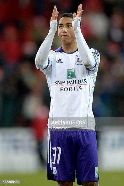 Youri Tielemans of RSC Anderlecht greets the fans during the Jupiler League match between Standard Liege and RSC Anderlecht on December 22 2013 in...