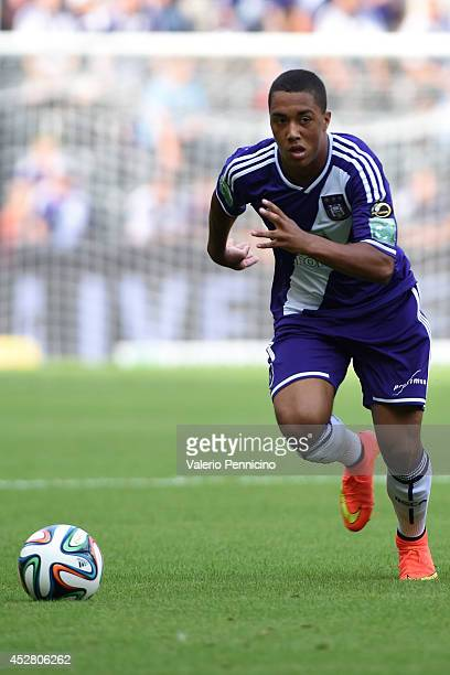Youri Tielemans of RSC Anderlecht in action during the Jupiler Pro League match between RSC Anderlecht and Royal Mouscron Peruwelz at Constant Vanden...